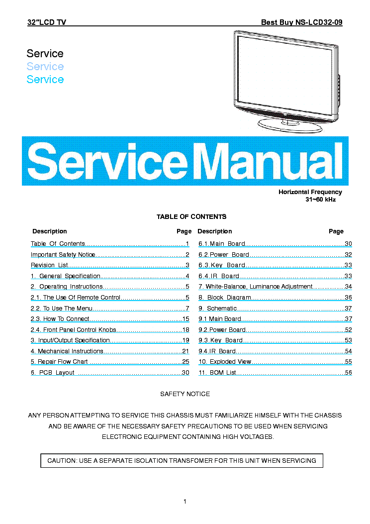 INSIGNIA NS-LCD32-09 [SM] Service Manual download